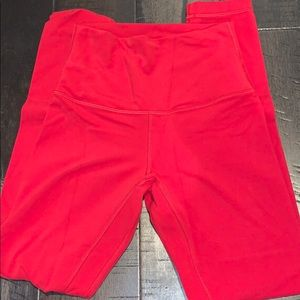 Red/Pink luluemon aligns inseam 25
